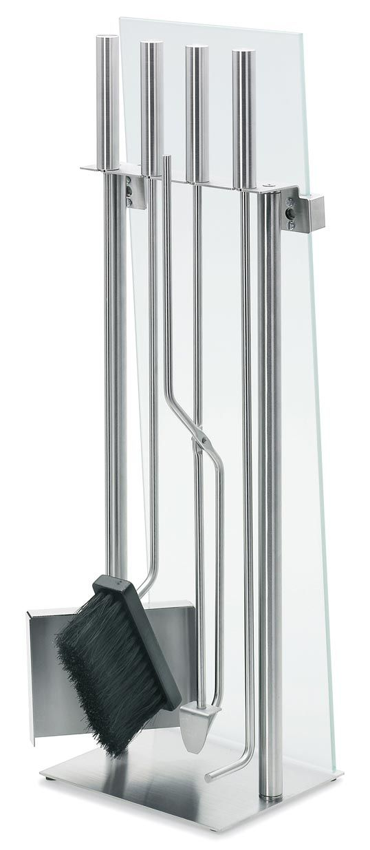 good looking contemporary fireplace sets are so hard to find.  Love this! Blomus - Chimo 5 Piece Fireplace Set With Glass Front