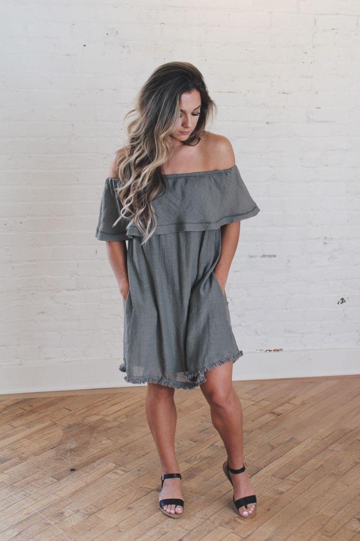 Autumn Dress + Everest & Co. + Women's Fashion + Olive Green Dress + Off the Shoulder Dress