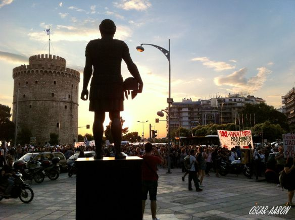 Peaceful manifestation of thousands of people on Wednesday July 1, 2015 in the center of Thessaloniki in favor of the NO on the acceptance of the agreement with the Troika. The statue of Philip II and the White Tower at the right.