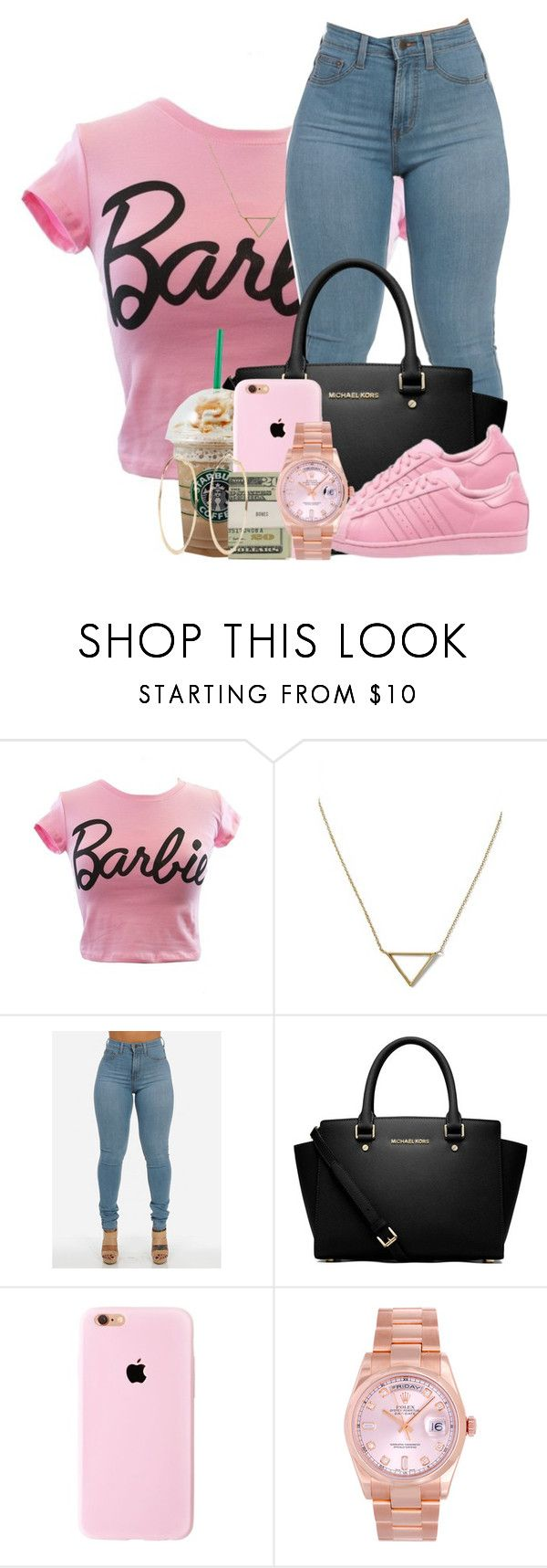 """""""I'm a Barbie Girl"""" by f0rever-d ❤ liked on Polyvore featuring Mighty Fine, Banana Republic, MICHAEL Michael Kors, adidas Originals, Jack Spade, Rolex and River Island"""