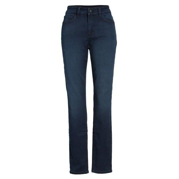 NYDJ Alina Colored Stretch Skinny Jeans ($76) ❤ liked on Polyvore featuring jeans, blue skinny jeans, super stretch skinny jeans, zipper jeans, petite skinny jeans and stretch blue jeans