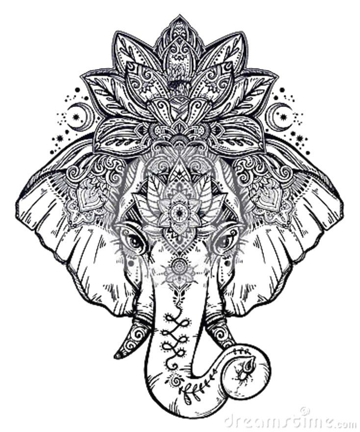 Black And White Elephant Lotus Tattoo Moderntattoodesigns Click To See More Mandala Elephant Tattoo Elephant Tattoos Henna Elephant Tattoos
