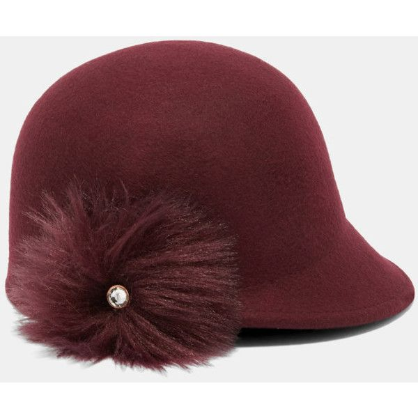 Ted Baker Faux fur pom-pom hat (6880 RSD) ❤ liked on Polyvore featuring accessories, hats, faux fur pom pom hats, pompom hat, brimmed hat, ted baker hat and ted baker
