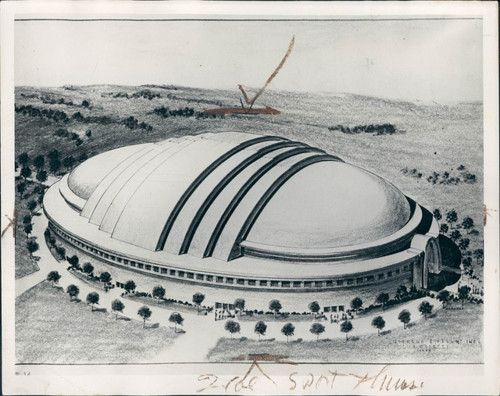 1939 City of Detroit domed stadium proposal for the Olympic Games.  This design is incredibly ambitious for its time and would've predated Houston's Astrodome (the first multi-purpose domed stadium) by twenty-one years, had Detroit won the bid to host the Olympics in 1944. London ended up winning the bid but the '44 games were cancelled due to World War II. Due to the cancellation, London hosted the following Olympics in the summer of 1948.  New plans to build a domed stadium i