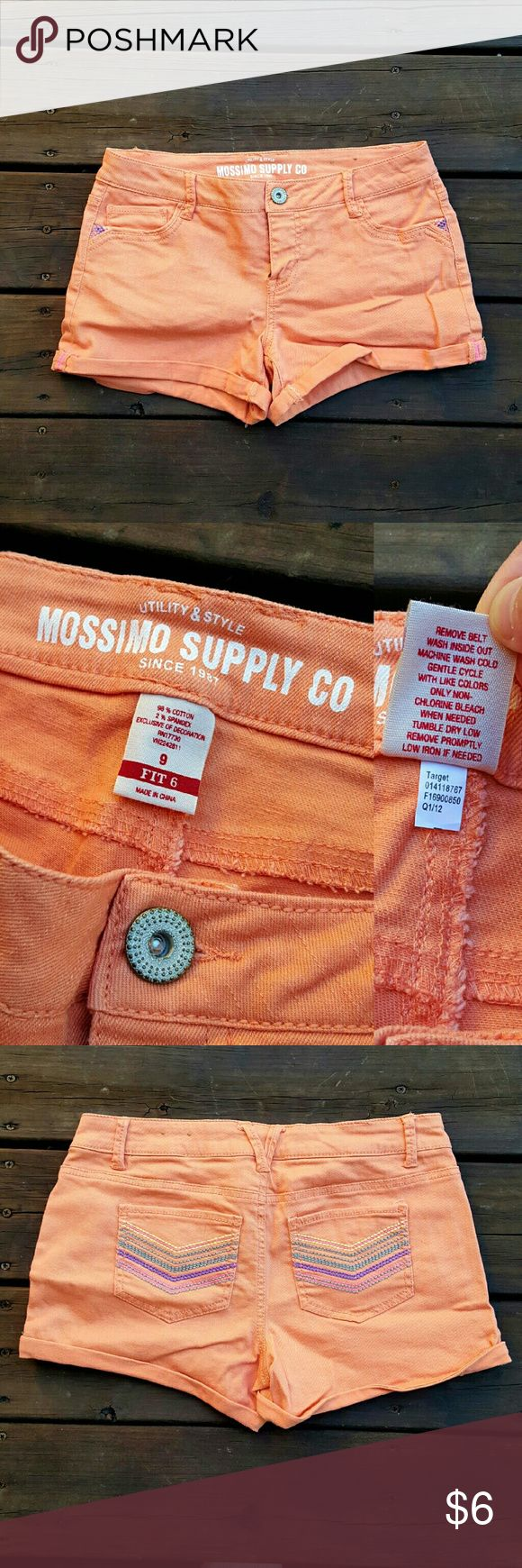Mossimo Peach Jean Shorts These have been worn only a few times. There aren't any signs of wear except the small stains on the butt, shown in pic #4.   Size 9 juniors Mossimo Supply Co. Shorts Jean Shorts