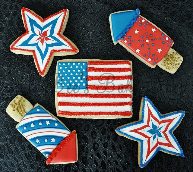 4th of July Patriotic Fireworks, Stars and American Flag cookies!!