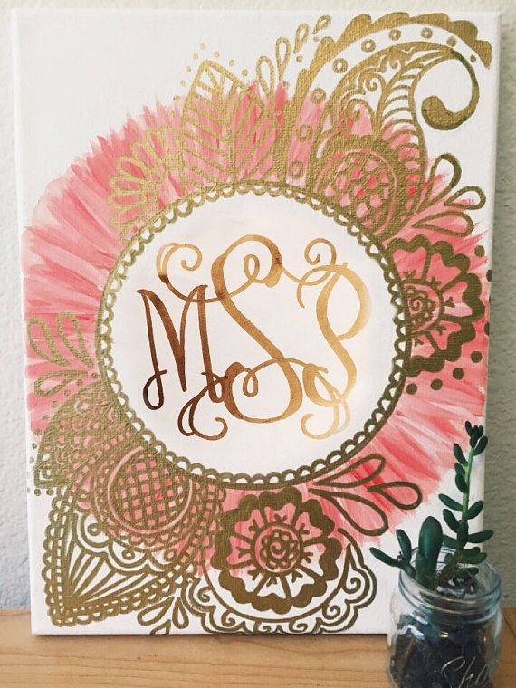 Custom Monogram Canvas Gold & Peach by CaliCanvas on Etsy