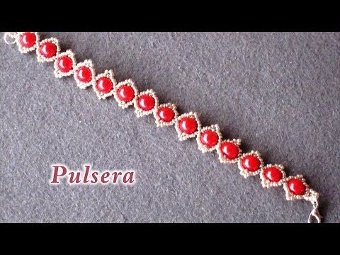 # DIY - Pulsera de perlas rojas# DIY - Red pearl bracelet - YouTube