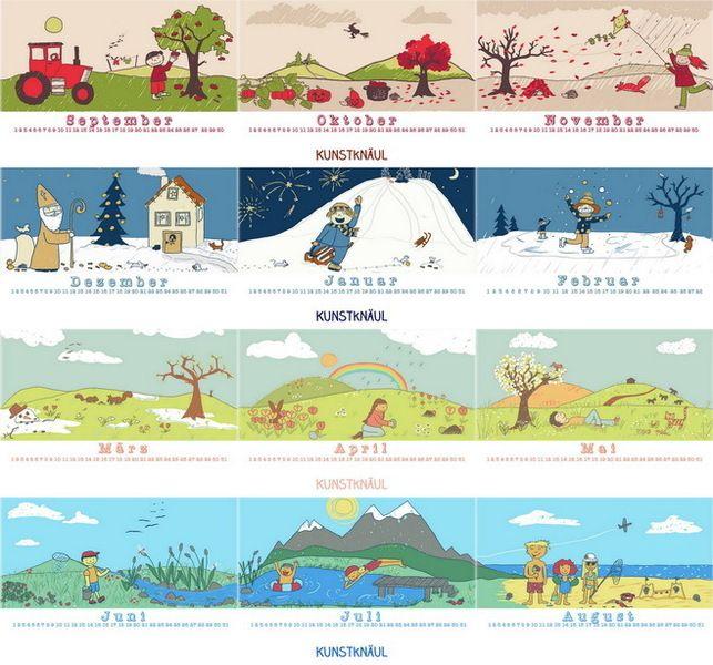 Geburtstagskalender *für Klassen, Gruppen, Familie von Kunstknäul - Stefanie Abt-Seitzer Illustration auf DaWanda.com