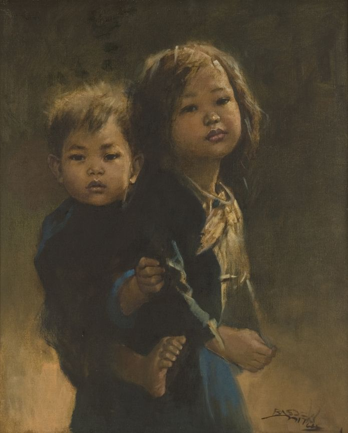 """A realistic painting titled """"Sister and Brother"""", made perfectly by a well-known artist Basuki Abdullah in 1971.  Created on a  65 x 79 cm canvas, this work illustrates a strong bond among siblings."""