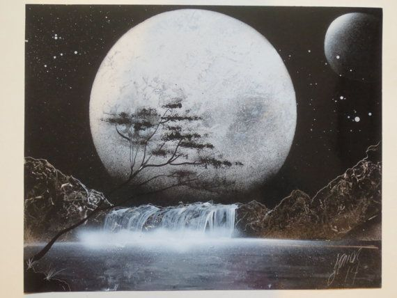 Waterfall in moonlight spray paint art. Hey, I found this really awesome Etsy listing at https://www.etsy.com/listing/192402025/scenic-fantasy-spray-paint-art-full-moon