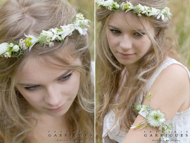 Idée coiffure, une couronne de fleur de mariée