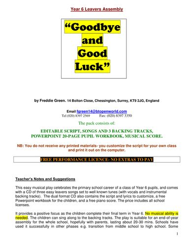 Best 25 goodbye and good luck ideas on pinterest quotes on goodbye and good luck musical leavers play for year ccuart Images