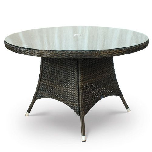 Diameter Glass Table Upon A PE Rattan And Aluminium Frame. For Outdoor And  Indoor Use.