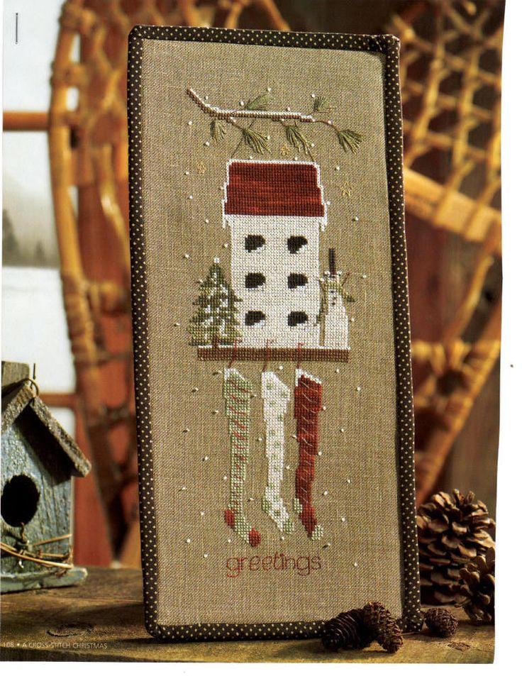 Cross Stitch PATTERN - Christmas - Birdhouse With Stockings