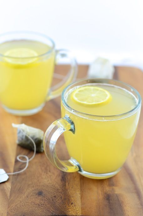 Green Tea Lemonade (Warm) - I suggest putting the honey after the tea cools a little bit because honey becomes toxic at high temperatures :)