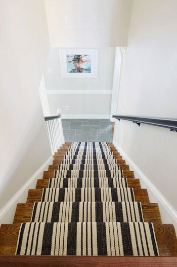 Paint or stain staircase stairs and runner