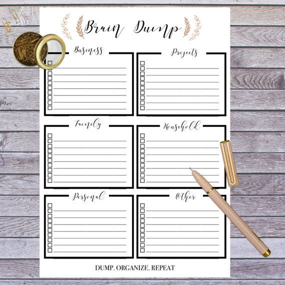 Brain Dump, Printable To Do List To Clear Your Mind, Daily