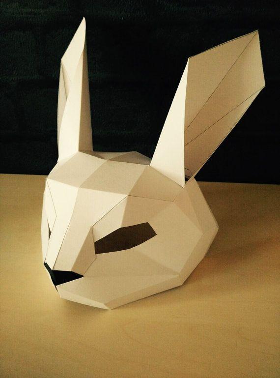 Pdf Rabbit Mask  Animal Head  Paper Mask  Diy Easter Mask
