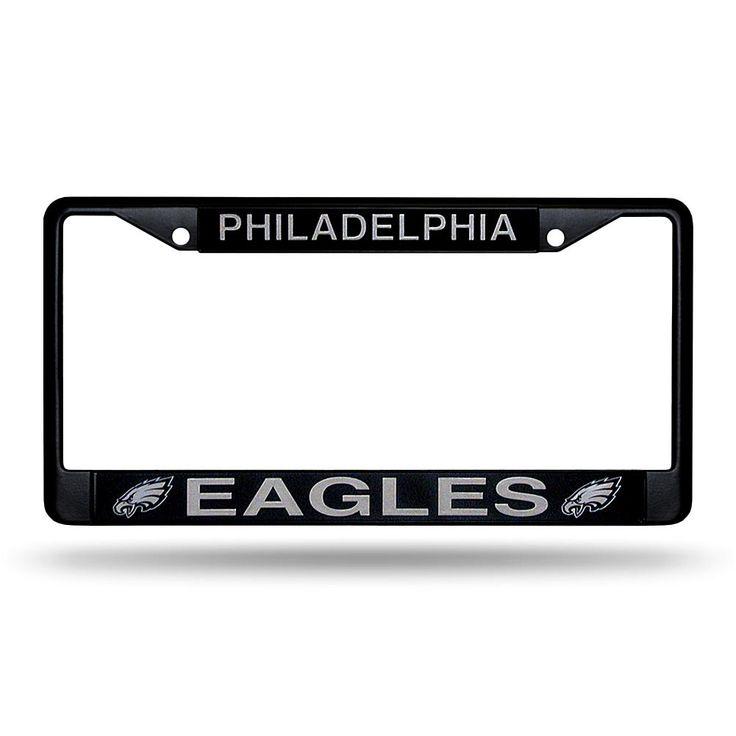 Officially Licensed NFL Black Laser-Cut Chrome License Plate Frame - Eagles