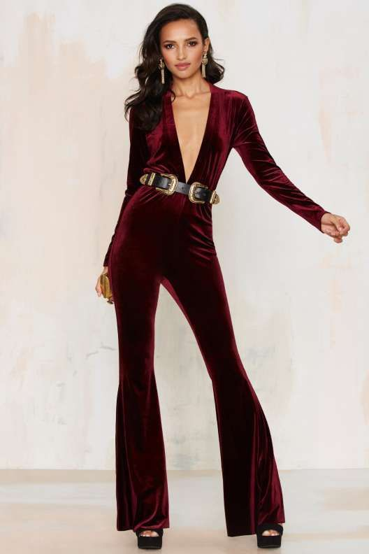 wonderful velvet jumpsuit outfit