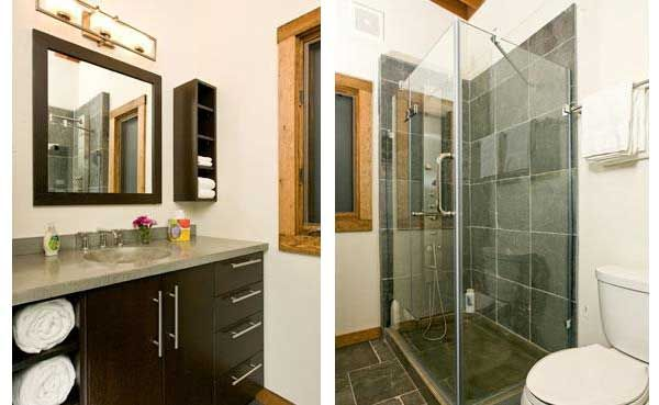 The bathrooms are small, but functional. Heavy duty glass showers, Kohler toilets and custom vanities with concrete countertops/sinks and quartzite floors combine to produce very well appointed facilities.    So if you are looking for a modern, ready made small home, this may be one to add to your list. Learn more by visiting the WheelHaus website http://www.wheelhaus.com/. Jamie just gave me the pricing for the Wedge, it is $75,000.