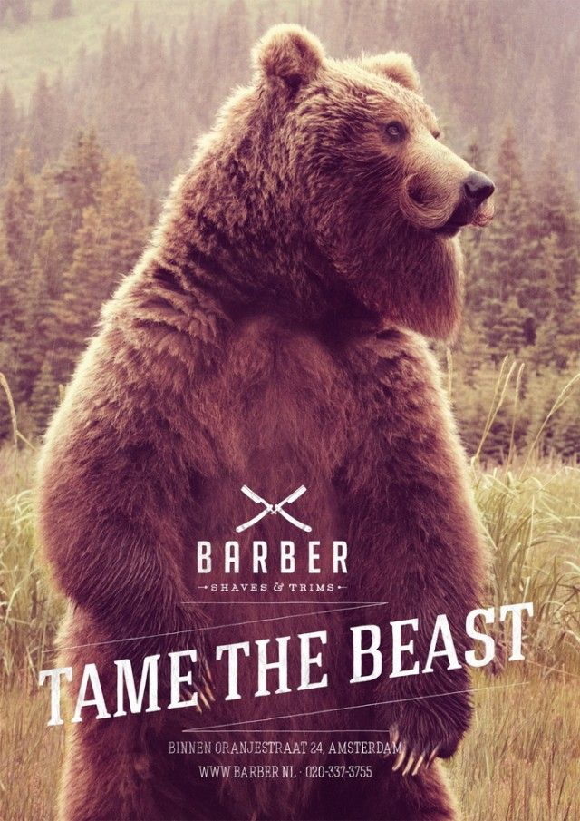 "Ad agency 180 Amsterdam imagined this very successful series of prints for Barber Shaves & Trims. With a slogan proposing to ""tame the beast"", the visuals illustrates wild animals with well-trimmed mustache. Rendering simple and able to discover more."