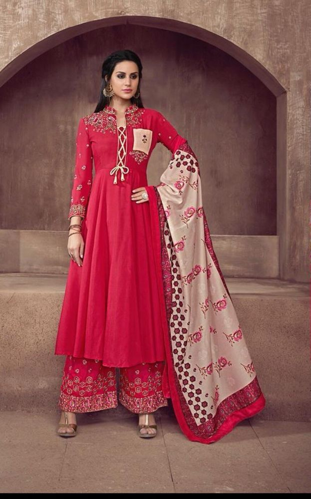 Stitched Readymade Muslin Kameez Plazzo Dupatta Indian Women Suit Size L Xl Xxl Ebay Indian Gowns Dresses Dresses Fashion Clothes Women