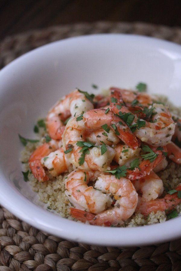 Shrimp with Garlic and Herbs over Quinoa... However nothin beats the Shrimp Shacks in Hawaiihttp://pinterest.com/pin/152981718566519264/
