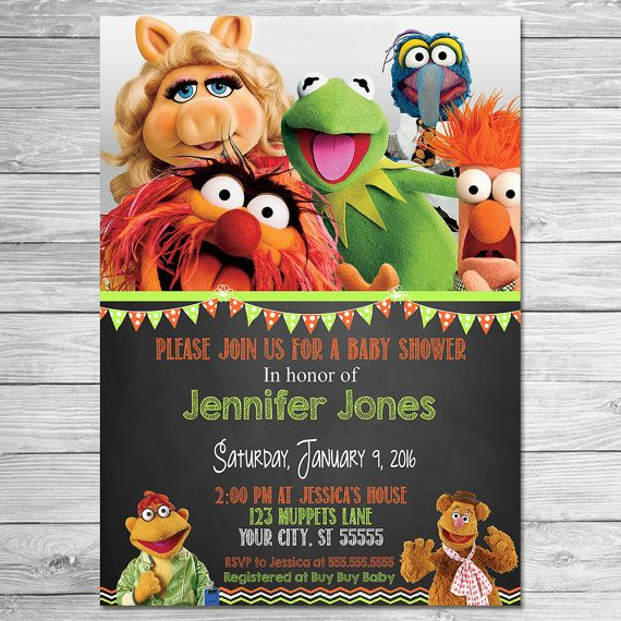 Muppets Animal Free Printable: Muppets Movie Baby Shower Invitation Chalkboard