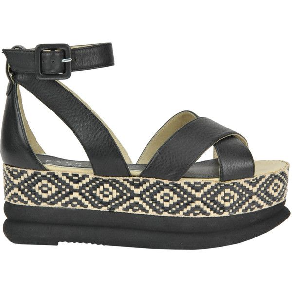Palomitas by Paloma Barcelò Tara Wedge Sandals ($86) ❤ liked on Polyvore featuring shoes, sandals, leather platform sandals, leather wedge sandals, strappy sandals, woven wedge sandals and braided sandals