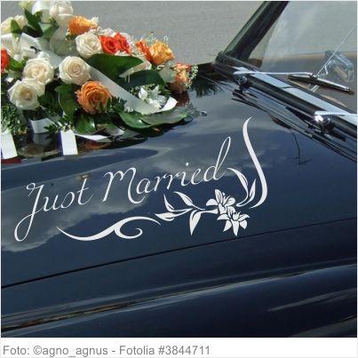 Autoaufkleber Hochzeit - Just Married Blumenranke 02