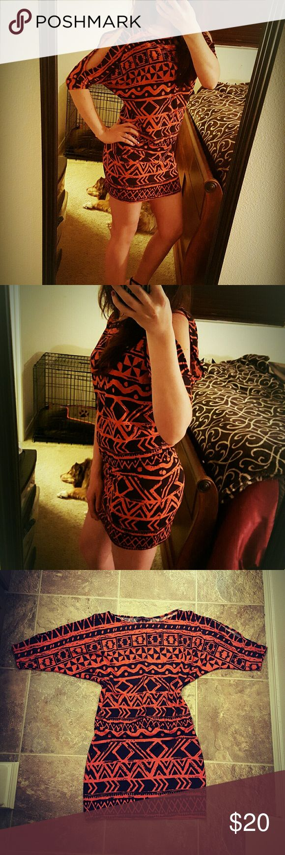 EUC Body Central XS S Dress Aztec Open Shoulder Hello everyone! Pretty dress for sale. Worn maybe once. Orange and black colors. Not super warm, but not super light either. Hugs your curves from waist down, upper portion has cold shoulders and dolman sleeves. Boat neck. Really pretty, but I just never wear it. See pics for care instructions and material.  Fyi I do have a dog but she is not allowed near clothes. Reasonable offers welcome! Sorry no trades. Body Central Dresses Mini