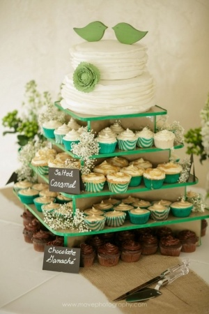 LOVE this idea- traditional and modern at the same time!! wedding cake and cupcakes!
