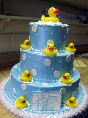 """So Cute! Rubber Ducky cake... """"Welcome Baby _____"""" I love the metallic blue color."""