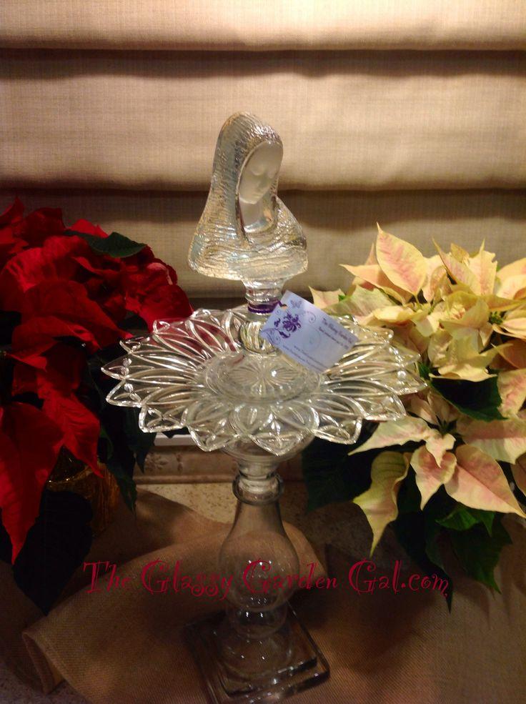 Madonna, Mother Mary, Glass Bird Bath, Glass Garden Art, Yard Art,