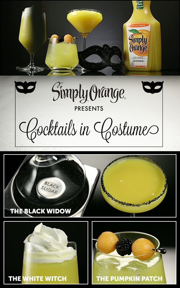 Celebrate Halloween with the delicious, fresh-squeezed taste of Simply Orange®. Dress up your Simply Orange cocktails with a spooky black sugar rim and transform the Screwdriver into the Black Widow.