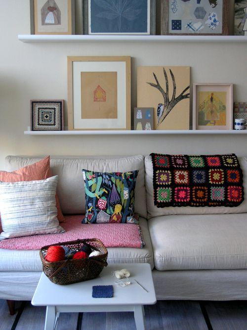 living room shelves for paintings/prints