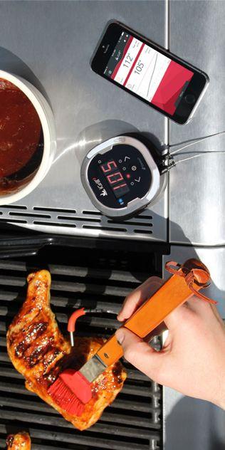 """iGrill 2 - thermomètre de cuisine Pour le maître du gril ...    iGrill est un barbecue thermomètre 2 en format de poche avec Bluetooth intélligente.   Il se connecte à votre smartphone et envoie les données sur le smartphone avec une portée allant jusqu'à 45 mètres.  Il est donc facile de garder la nourriture de gril """"en vue"""", et vos steaks sont toujours apportés á la cuisson  ..."""