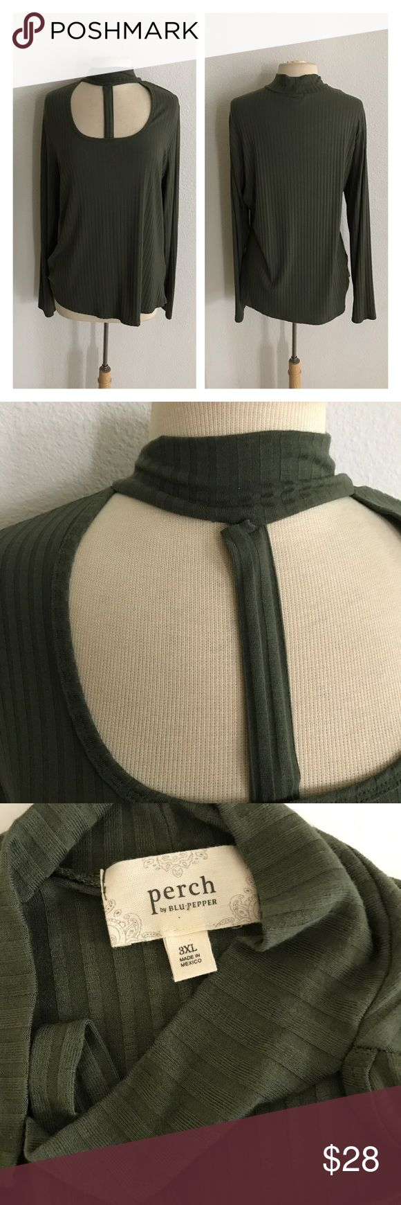 "NWOT Green Strappy top *runs slightly small Strappy olive green top. Size 3x- runs slightly small and fits me perfectly as a 2x/16/18. Measures 28"" long with a 42"" bust. Super soft and very stretchy! Purchased by me from a local boutique and never worn. Brand new without tags. Please note: the strap has slightly separated from the neckline. It isn't visible when being worn, but it is slightly damaged.  💲Reasonable offers accepted ✅Bundle offers Blu Pepper Tops"