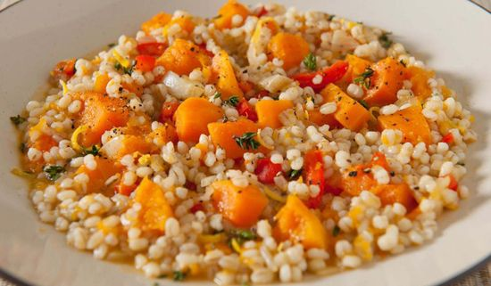 This rice-based recipe makes a delicious vegetarian dinner option or flavour-packed side dish, with butternut squash, tagine spices and crispy onions