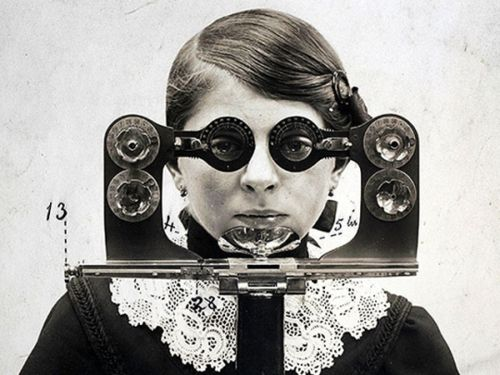 An early version of the phoropter, a device eye doctors and opticians used to find the correct corrective lens. The circa 1895 device shown in this photo housed a variety of lenses.