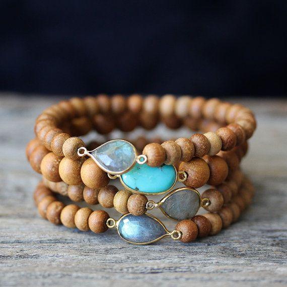 Sandelholz Boho Perlen Armbänder Labradorit Türkis 14K von byjodi