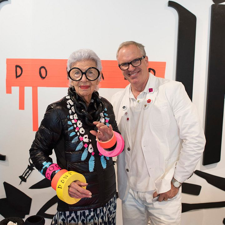 #IrisApfel poses with Donald Robertson after getting her HyBridge Lite Jacket hand painted by the artist himself. #thisisstory