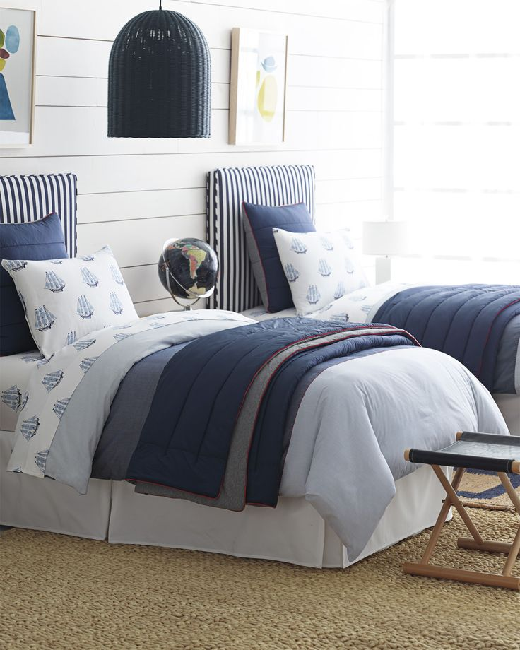 For the boys bedroom | Riggins Quilted Coverlet via Serena & Lily