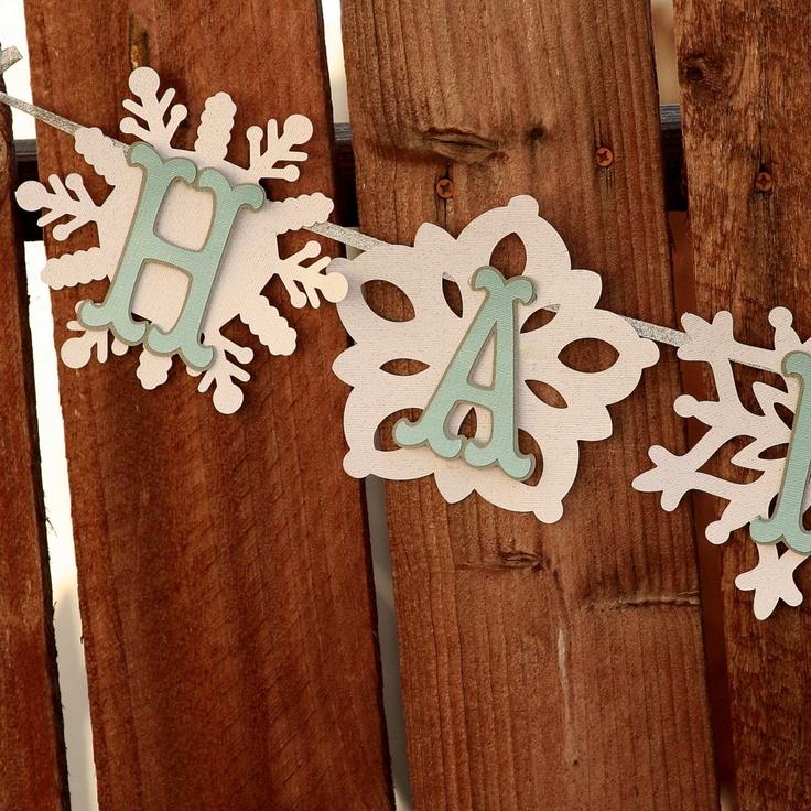 Winter Wonderland Happy Birthday Snowflake Banner Blue Letters. $27.00, via Etsy.