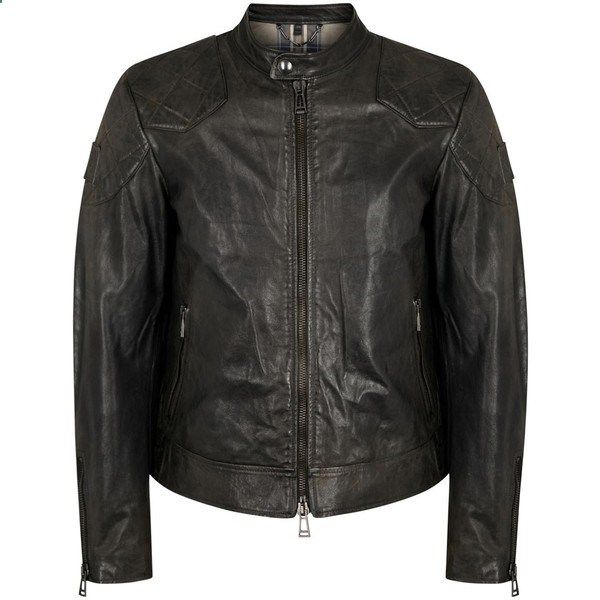 Belstaff Outlaw anthracite waxed leather jacket (6.565 RON) ❤ liked on Polyvore featuring mens fashion, mens clothing, mens outerwear, mens jackets, mens zip up jackets, mens leather jackets, belstaff mens jackets, mens quilted leather jacket and mens waxed jacket