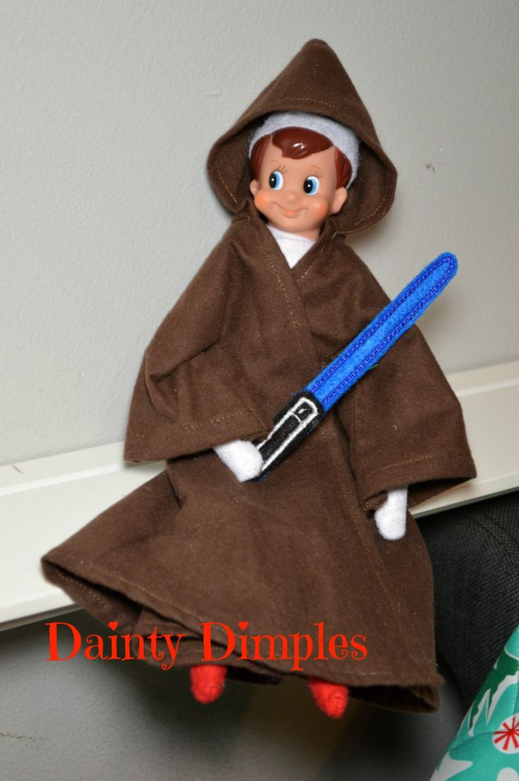 Elf Jedi Robe and Lightsaber - Star Wars  - Obi-Wan - Elf Accessories - Elf Costume - Elf Clothing - Elf Prop by DaintyDimples on Etsy