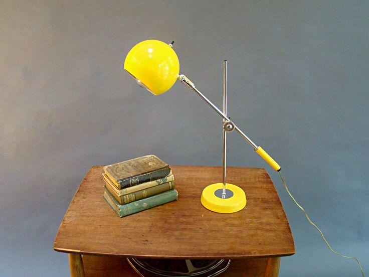 Marks Lamp; Prestige; Eyeball Desk Lamp; Mid-century lighting; Desk Lamp; Yellow Lamp; Adjustable lamp; MCM lamp; table lamp; Sonneman by PurpleMouseStories on Etsy