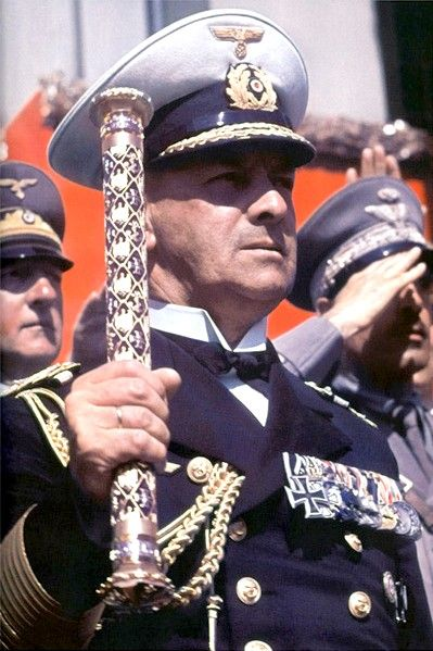 Photo showing Grossadmiral Erich Raeder holding his Baton of the Kriegsmarine.
